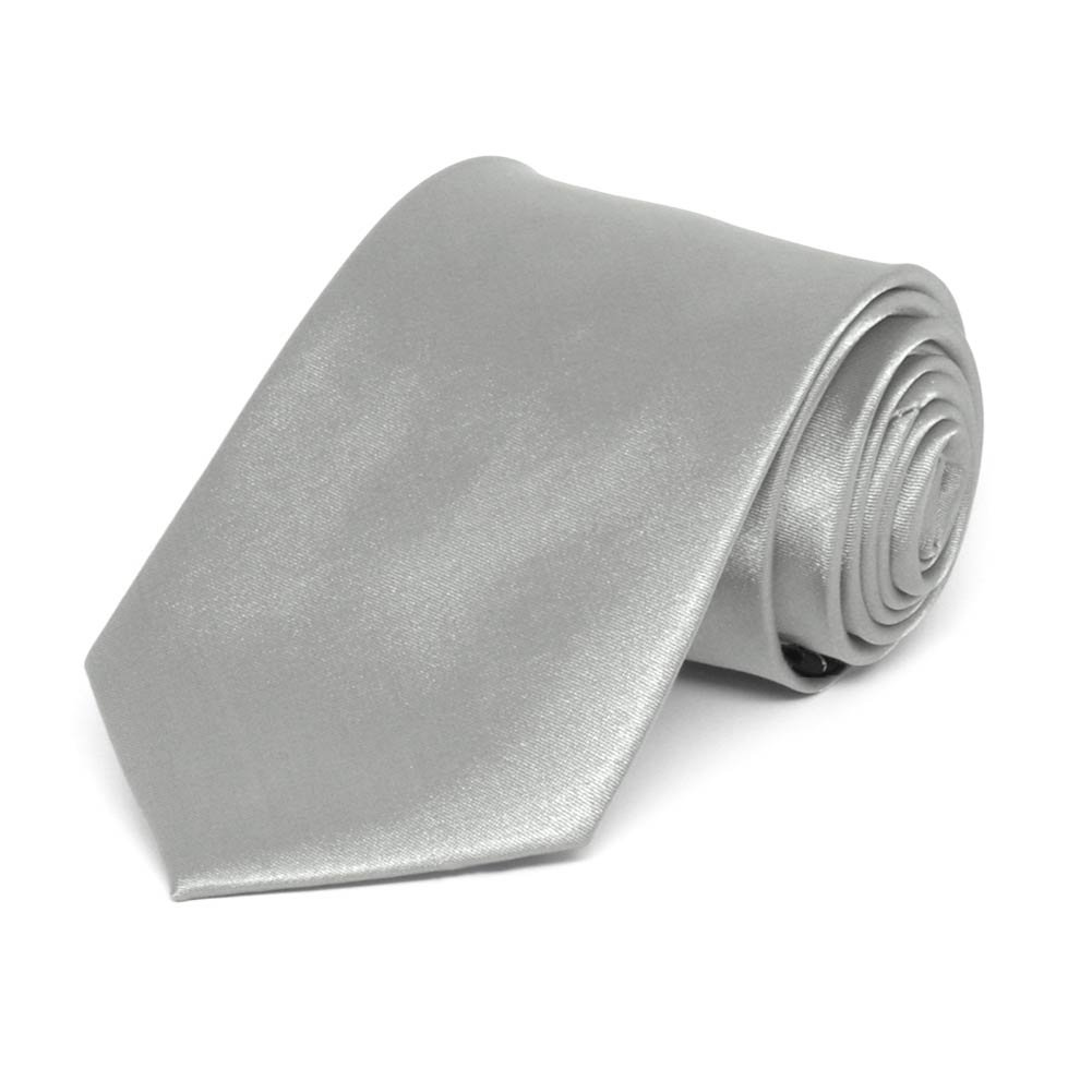 TieMart Boys Mercury Silver Solid Color Necktie