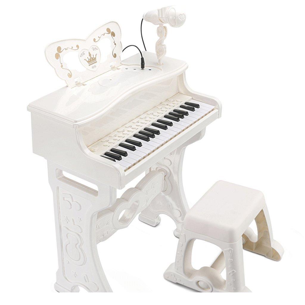 Kinder Tastatur mit Mikrofon Anfänger Anfänger Anfänger Multifunktions 1-3-6 Jahre alt Lichter und Aufzählungszeichen (Farbe : Weiß) d0b670
