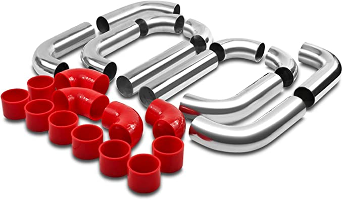 Lizudian 2.5 inch 12 Pcs Piping Kit Coupler Turbo Front Mount Intercooler T-Bolt Clamps