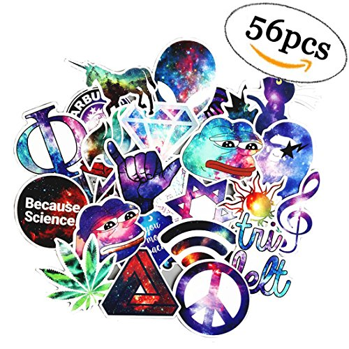 56 Pcs Car Laptop Decal Stickers,Stickers Pack for Skateboard Laptop Motorcycle Bicycle Luggage Bumper Water Bottles, Car Stickers and Decals Bike Phone Stickers for Laptop Kids Girls Adult.
