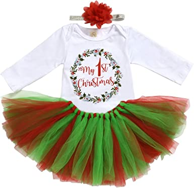 Baby Girls My First Christmas Tutu Dress Outfits Costume Newborn Toddlers Kids Xmas Dress Up Party Dresses Romper Long Sleeve Tops Tutu Skirt Dress Up with Bow Headband 0-18 Months