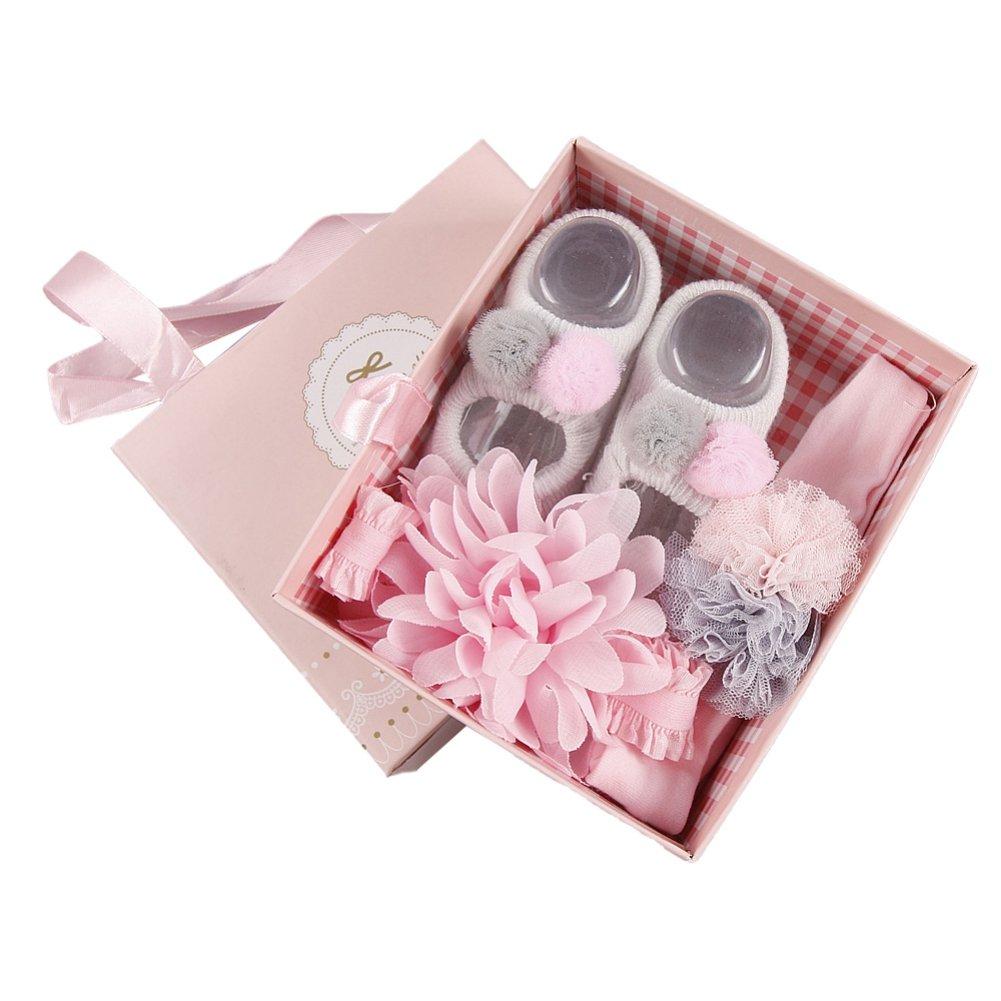 Amazon.com: ❤BOBORA❤ Newborn Baby Girl Organic Anti Slip Socks + ...