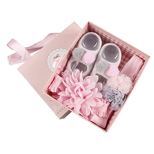 aa42c68e005b Baywell Baby Girl 3Pcs Hair Accessories Set, Cute Hair Clip Hairpin Infant's  Gift Box (