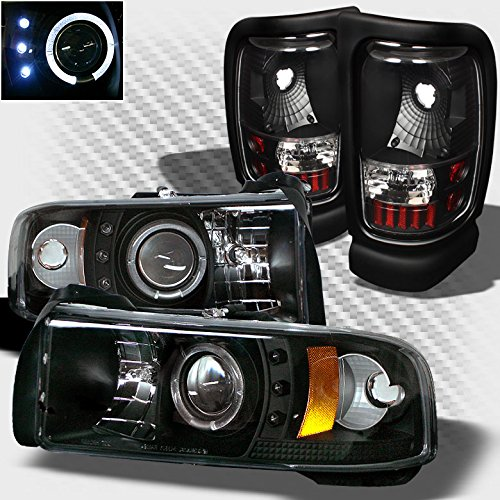 Xtune for 1994-2001 Dodge Ram 1500, 1994-2002 Ram 2500/3500 Black Halo LED Projector Headlights + Tail Lights Set Pair 1995 96 ()