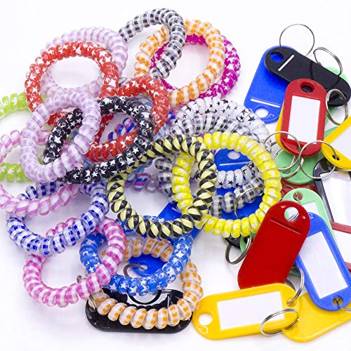 Spiral Bracelet - 20Pack Plastic Coil Stretch Elastic Spring Spiral Bracelet Key Ring,Colorful Coil Stretch, Wristband Keychain, Keychain Spring Key Holder for School, Work, Office and Outdoor Activities (Multi-Colors)