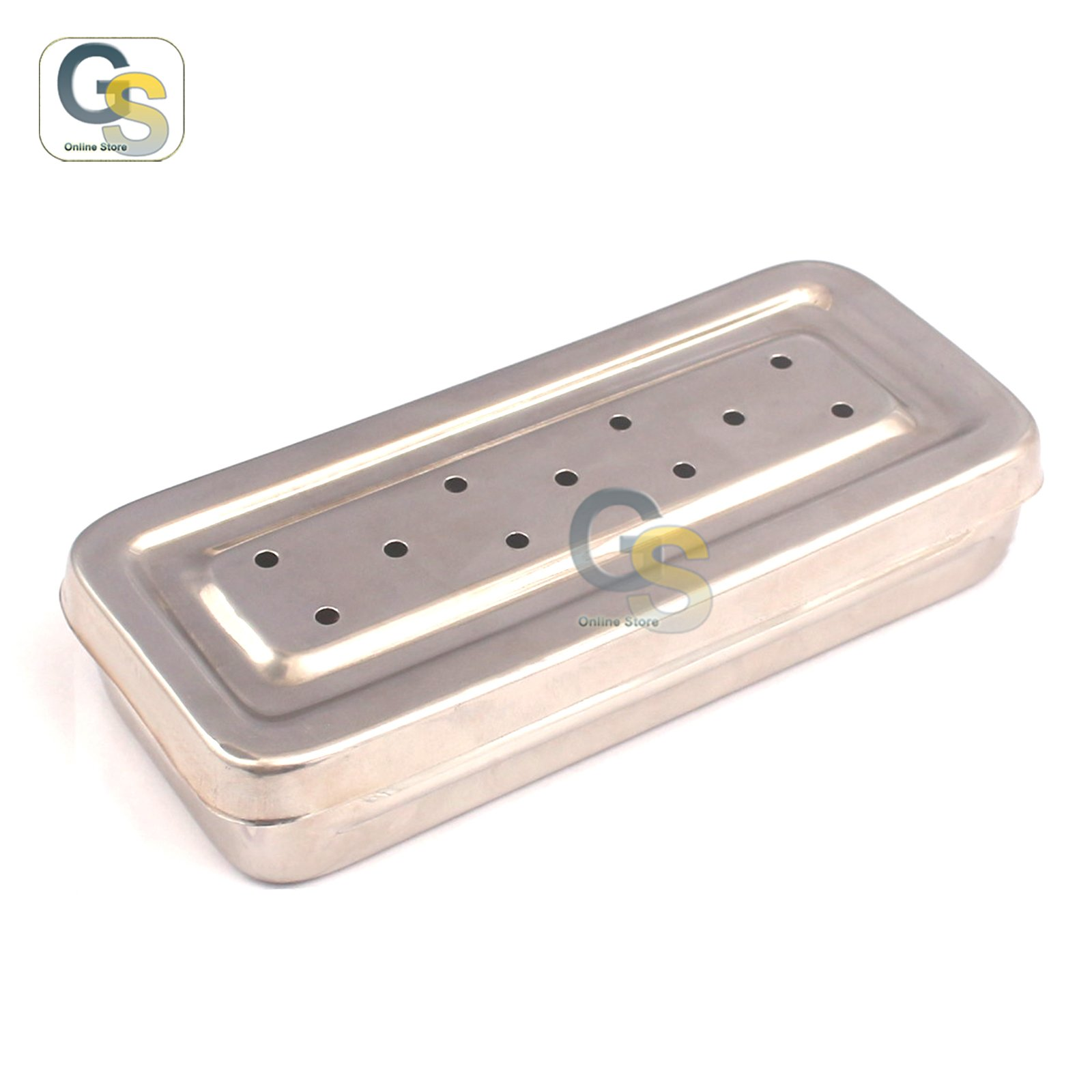 G.S 17x7x3 Cm Instruments Box Perforated Stainless Steel Holloware Tray Box Best Quality