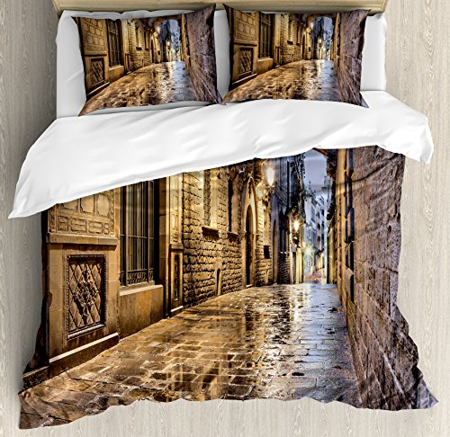 City Queen Size Duvet Cover Set by Lunarable, Narrow Street Gothic Design Architecture Carrer del Bisbe Barcelona Spain Europe, Decorative 3 Piece Bedding Set with 2 Pillow Shams, Tan Pale Brown by Lunarable