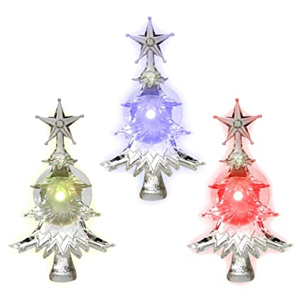 Banberry Designs Christmas Window Clings Set Of 3 Suction Cup Xmas Trees Led Color Changing Lights Battery Operated Christmas Decorations