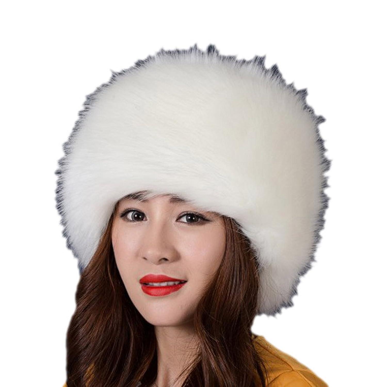 Yoyorule Fashion Faux Fox Fur Warm Lady Women Soft Ski Hat Cossack Cap