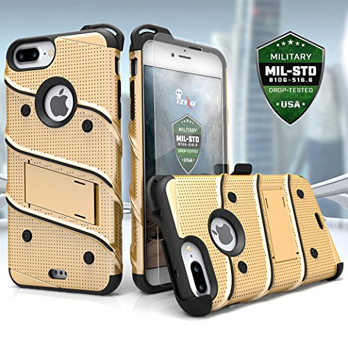 iPhone 7Plus Case, Zizo [Bolt Series] W/[iPhone 7Plus Screen Protector] Kickstand [12ft. Military Grade Drop Tested] Holster–