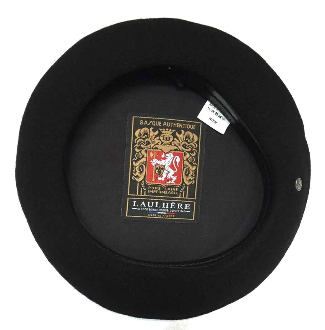 Laulhere Basque Authentique French Anglobasque Wool Beret, Black, Large(59)