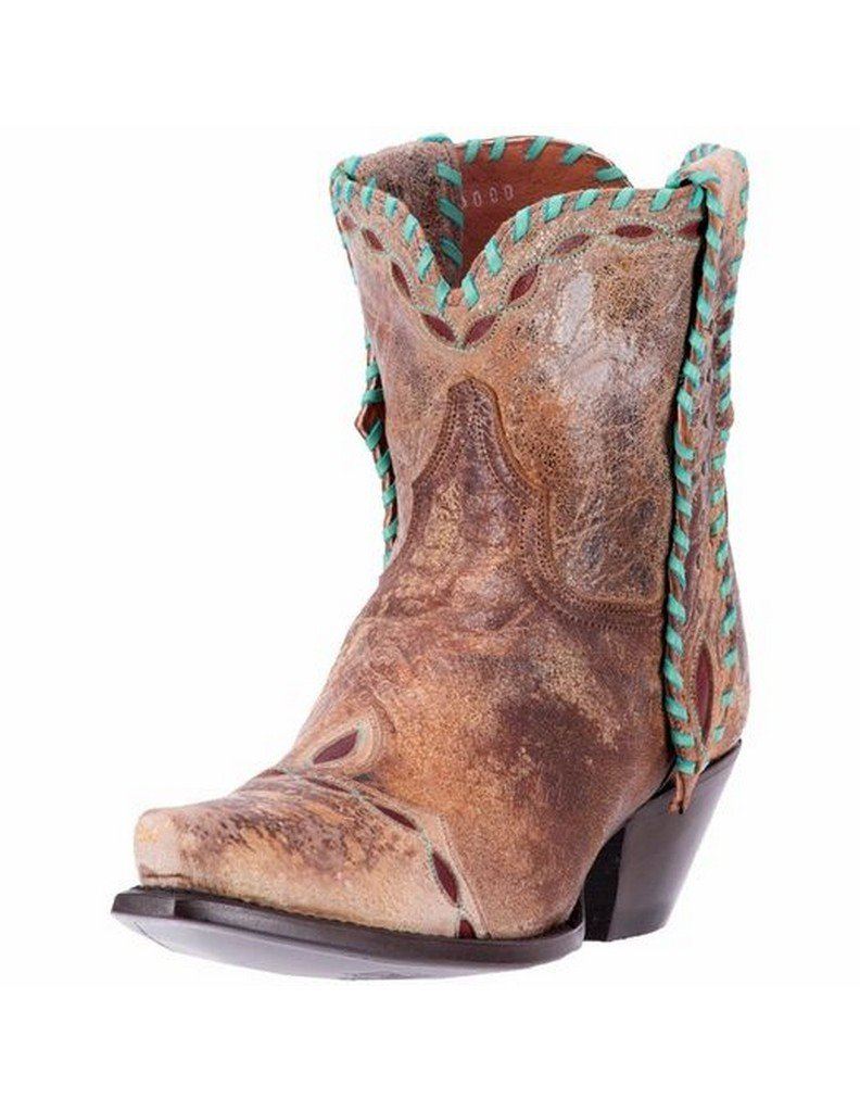 Dan Post Womens Tan Livie Leather Cowboy Boots 6in Laced 8 M