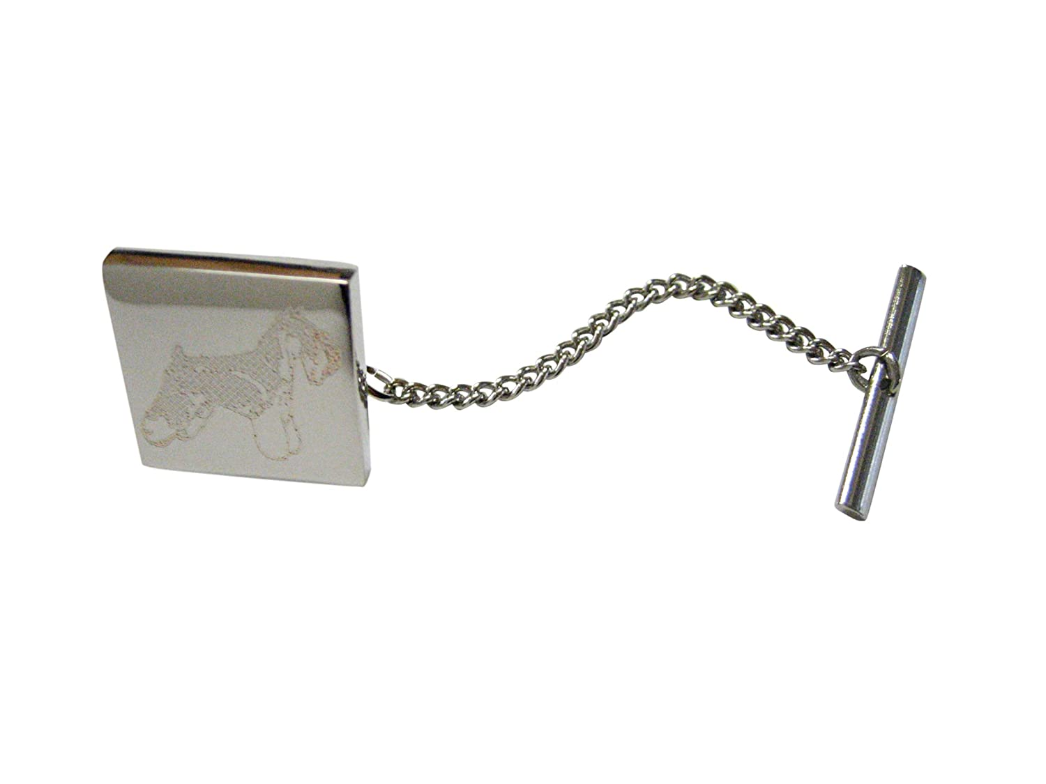 Silver Toned Etched Scottish Terrier Dog Tie Tack