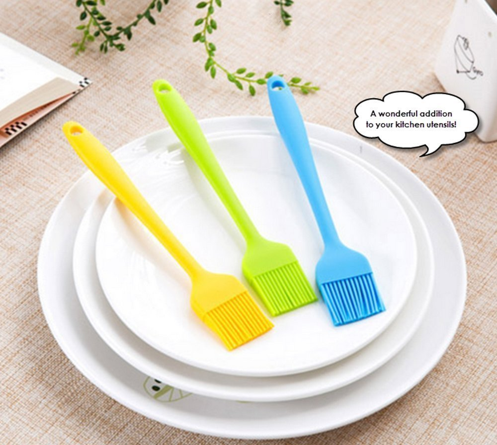 Hosaire Silicone Pastry Brush Basting Brush,BBQ Brush,Essential Cooking Gadget 8.2 Inch 8 Made of FDA silicone with a steel core inside and BPA free - there is nothing to break so the bristle head can't fall off ONE piece of silicone design - NO crevices where oil or egg white or barbecue sauce or whatever can seep in be trapped to breed germs. Makes it VERY easy to clean It has 4 rows of 13 bristles each for a total of 52 bristles.So it will soak up hold a lot more of whatever you're brushing or basting onto your food