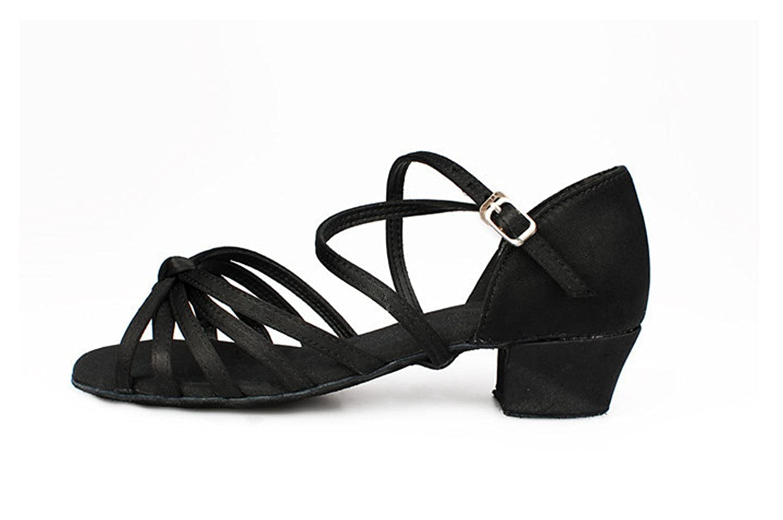 Miyoopark KBTS019B Kids Girls Knot Satin Latin Salsa Tango Wedding Sandals