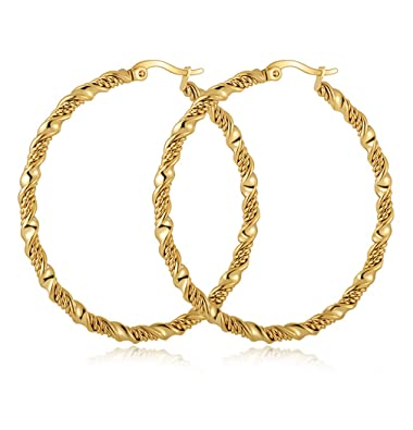 ff6ac158e Yumay 9ct Yellow Gold Ladies Twist Hoop Earrings,50MM Large Fashion Earrings  with Jewellery Box