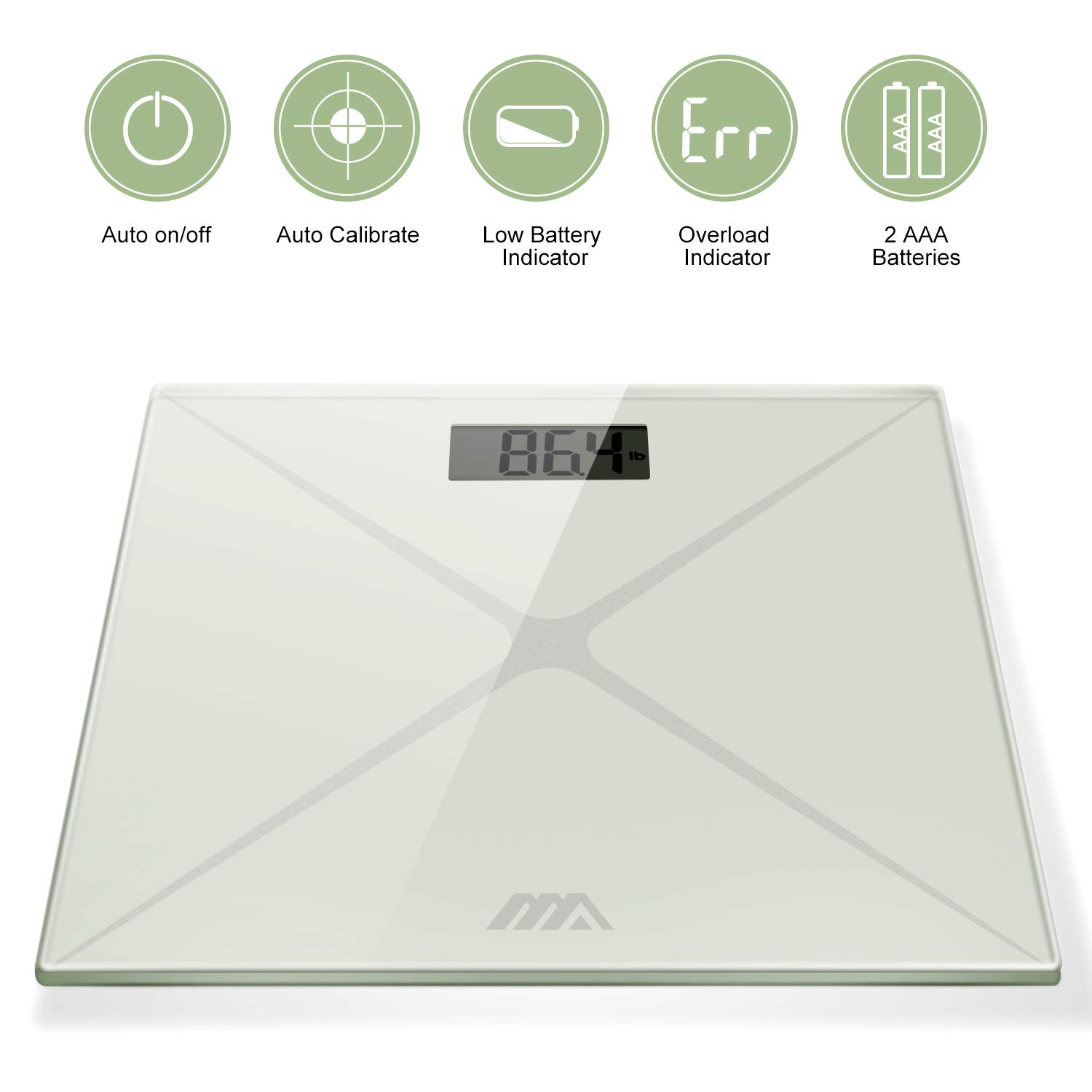 Digital Body Weight Scale, Bathroom Scale with Advanced Step-on Technology and LCD Backlight Display Scale,Tempered Glass Surface (White Silver) by AdorioPower (Image #3)