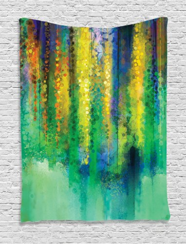 Watercolor Flower Decor Tapestry Wall Hanging by Ambesonne, Abstract Style Spring Floral Watercolor Style Painting Image Nature Art Decor, Bedroom Living Room Dorm Decor, 60 x 80 Inches Green Yellow - Water Wall Tapestry