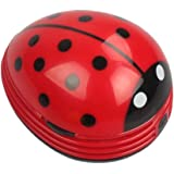 Cute Portable Beetle Ladybug cartoon Mini Desktop Vacuum Desk Dust Cleaner (Red#002)