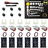 x rocker ii - 6 Set DC Motor Kit, Rectangular Mini Electric Motor 1.5-3V 24000RPM with 82 Pcs Plastic Gears,Electronic wire, 2 x AA Battery Holder,Motor Mounting Bracket,Boat Rocker Switch for DIY Science Projects
