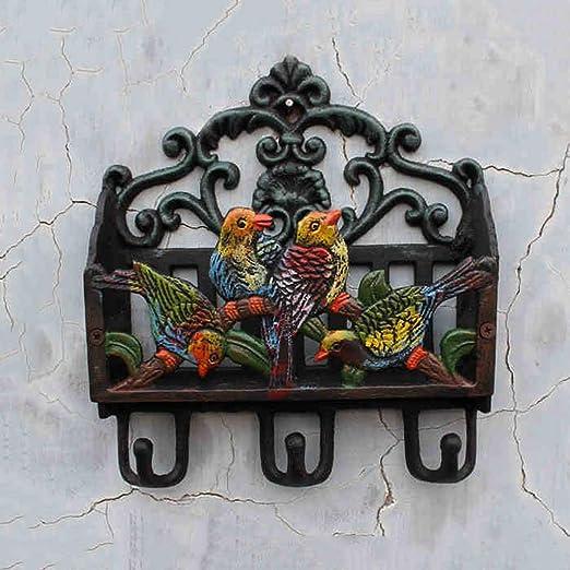 CJH Vivid - Revistero de Hierro Fundido en Forma de 4 pájaros para Colocar en el Interior del Libro, para Guardar los desechos y Decorar el jardín con Gancho de Hierro Forjado: