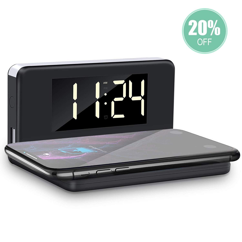YPLANG - Despertador Digital LED 3 en 1 con luz Nocturna, Despertador inalámbrico Recargable, Despertador Regulable en luminosidad, Dormitorio, Cocina ...