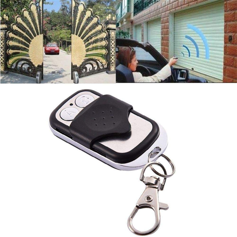 Remote Control 433mhz Plastic Metal Electric Cloning 4 Channel Universal Copy Code Gate Garage Door Opener Key RF Fob Universal Black /& Chrome