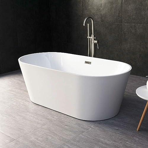WOODBRIDGE BTA-1514 59″ Acrylic Freestanding Bathtub Contemporary Soaking Tub