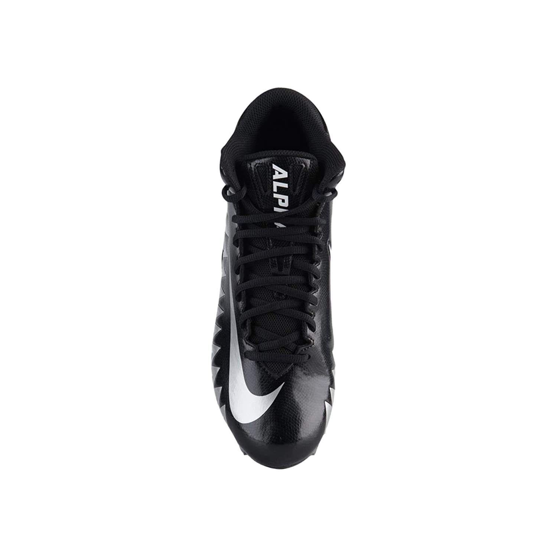 Nike Mens Alpha Menace Varsity Mid D Football Cleat Black//Metallic Silver//White Size 10