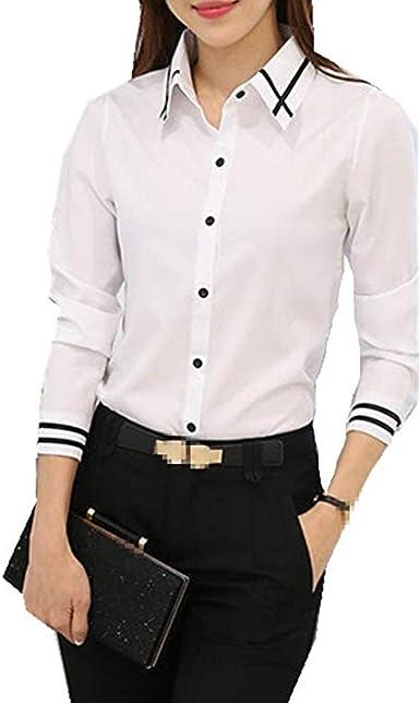Taiduosheng - Camisas de trabajo para mujer (manga larga, ajustadas, talla grande, con botones, cuello y botones, talla L): Amazon.es: Ropa y accesorios