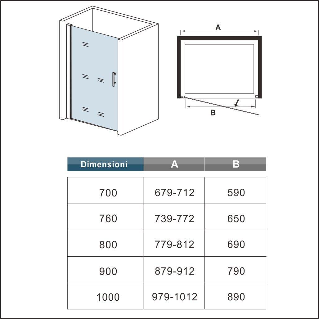Box Doccia Per Nicchia Porta Apertura a Battente Verso Esterno Cristallo Temperato Trasparente Anticalcare 70x 195cm