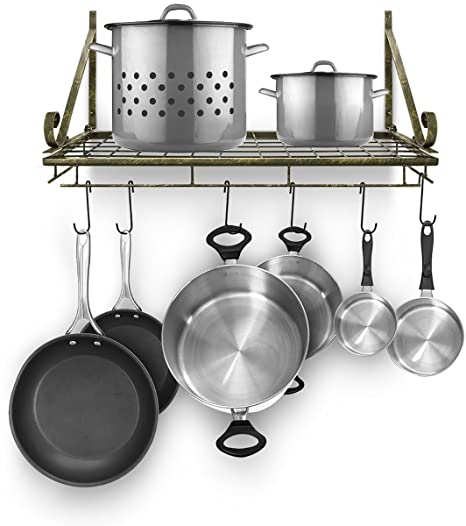 Sorbus Kitchen Wall Pot Rack with Hooks — Decorative Wall Mounted Storage  Rack — Multi-Purpose Shelf Organizer for Kitchen Cookware, Utensils, Pans,  ...