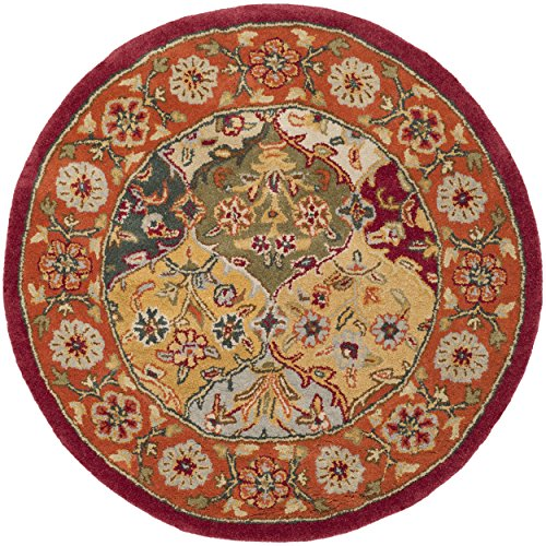 Safavieh Heritage Collection HG510B Handmade Traditional Oriental Multi and Red Wool Round Area Rug (3'6 Diameter)