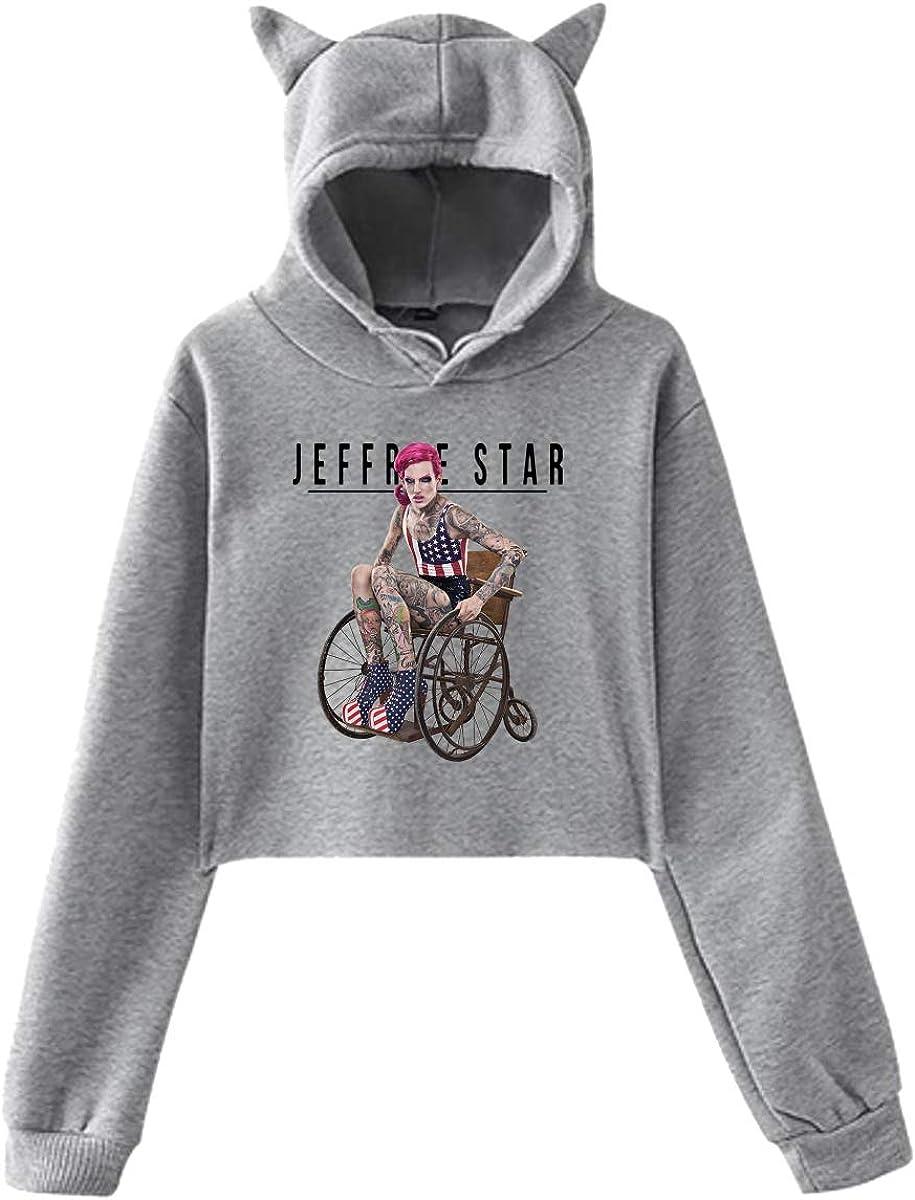 X Q X Womens Cat Ear Hoodie Sweater Jeffree Beauty Blogger Star Lumbar Sweatshirt Hooded Gray