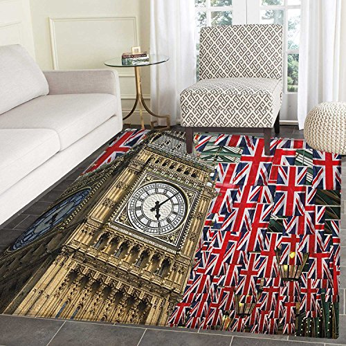Union Jack Area Silky Smooth Rugs UK Flags Background with B