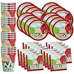 Barnyard Farm Animals Birthday Party Supplies Set Plates Napkins Cups Tableware Kit for 16