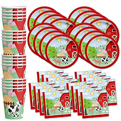 Barnyard Farm Animals Birthday Party Supplies Set Plates Napkins Cups Tableware Kit for 16 (Animals Dinnerware Barnyard)