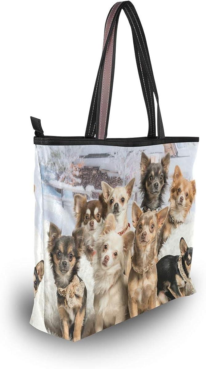 My Daily Women Tote Shoulder Bag Cute Chihuahuas Dog Handbag
