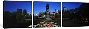 """iCanvasART 3 Piece Statue in a Garden, Paul Revere Statue, Boston Public Garden, Boston, Suffolk County, Massachusetts, USA Canvas Print by Panoramic Images, 36 x 12/1.5"""" Deep"""