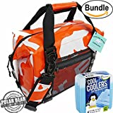 Polar Bear Coolers H2O Waterproof Cooler (Size 12 Pack) Tangerine & Fit & Fresh Cool Coolers Slim Ice 4-Pack (Bundle)