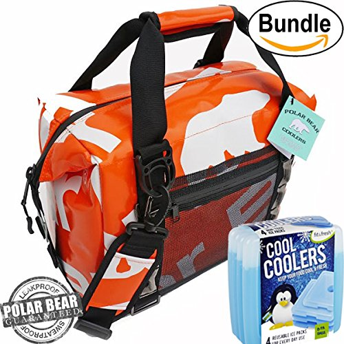 Polar Bear Coolers H2O Waterproof Cooler (Size 12 Pack) Tangerine & Fit & Fresh Cool Coolers Slim Ice 4-Pack (Bundle) by Polar Bear / Fit & Fresh