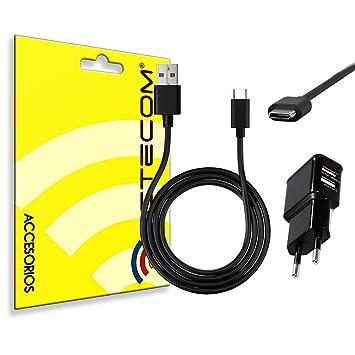 ACTECOM® Cargador 2A Doble USB + Cable USB 3.1 Tipo C USB Negro Compatible para Samsung XIAOMI MEIZU