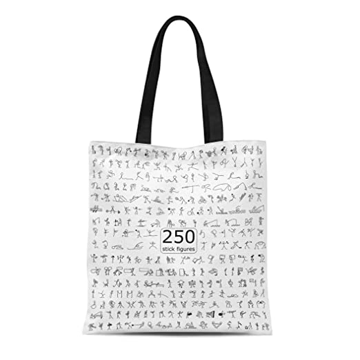 18115c21b4ca Amazon.com: Semtomn Canvas Tote Bag Shoulder Bags Multiple Black ...