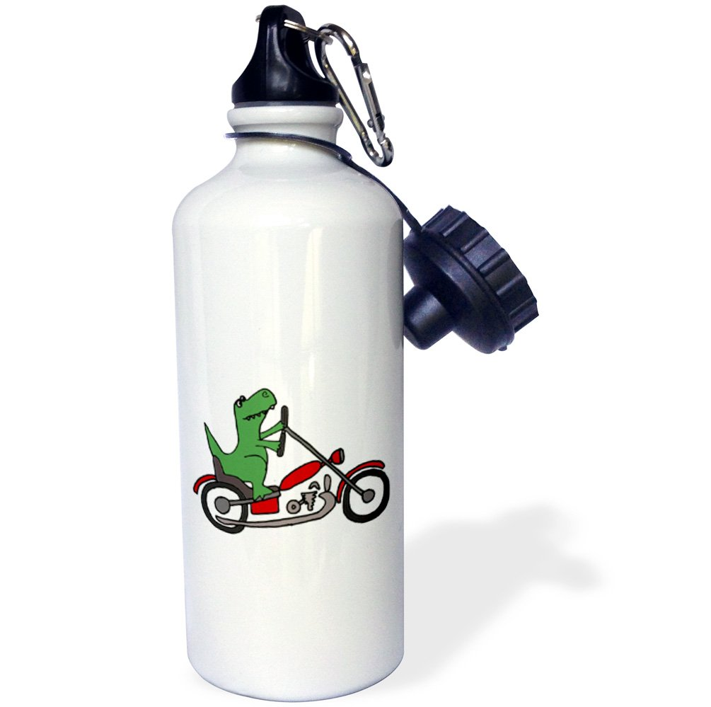 3dRose wb_201819_1 Fun Green T-Rex Dinosaur Riding A Red Motorcycle Sports Water Bottle, Multicolor, 21 oz