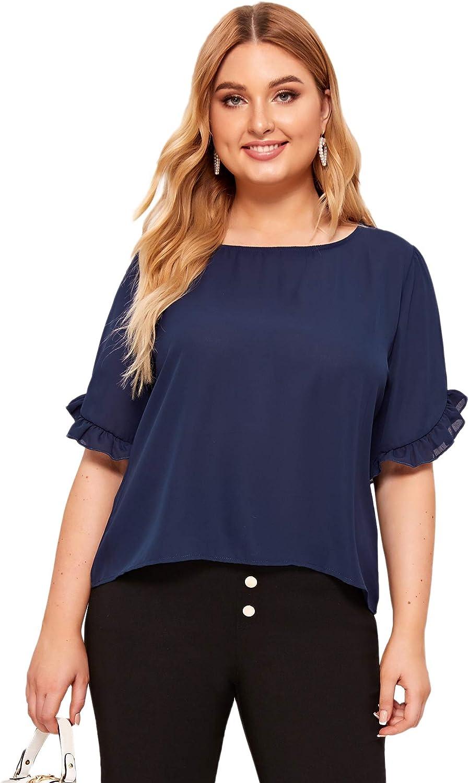 Milumia Womens Plus Size Round Neck Frill Cuff Short Sleeve Work Blouse Shirt Tops Navy XX-Large Plus