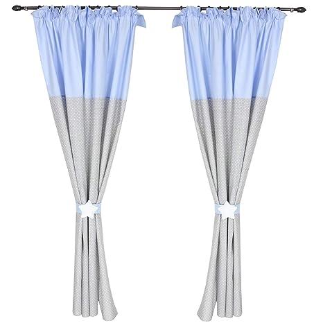 Tuptam Kinderzimmer Vorhang Set Mit Zierband Zweifarbig Farbe Krauselband Blau Punkte Grau Grosse Ca 140 X 160 Cm