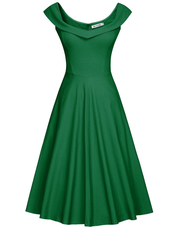 Muxxn Women S 1950s Scoop Neck Off Shoulder Cocktail Dress