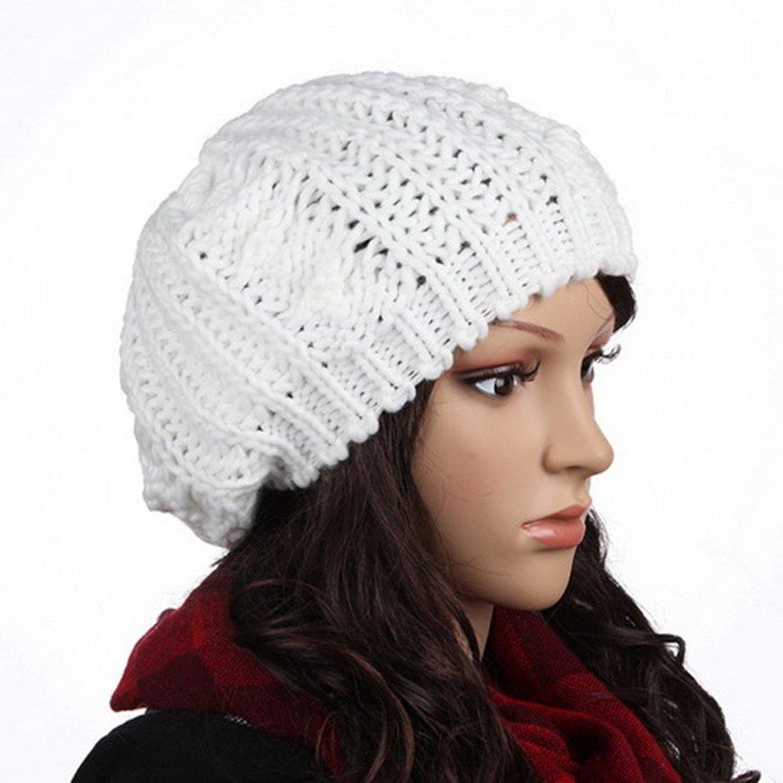 Lady's Strick Beret geflochten Strickmütze Winter Mütze Ski Mütze Beanie, Weiß