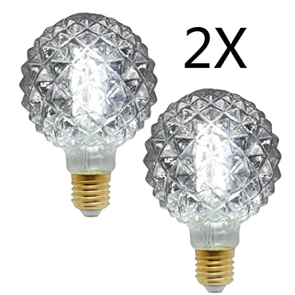 YWXR Edison Bombilla LED E27 Socket - 2 Piezas, 4W, 4000K,Sarga De ...