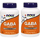 Now GABA 750mg, 100 Vcaps (2pack)